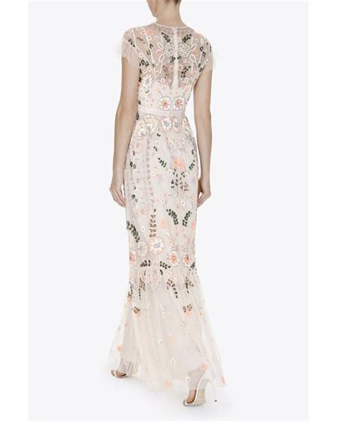 Maxi Dress Syari Pastel Realpic needle thread floral embellished crepe maxi dress in pink pastel pink lyst