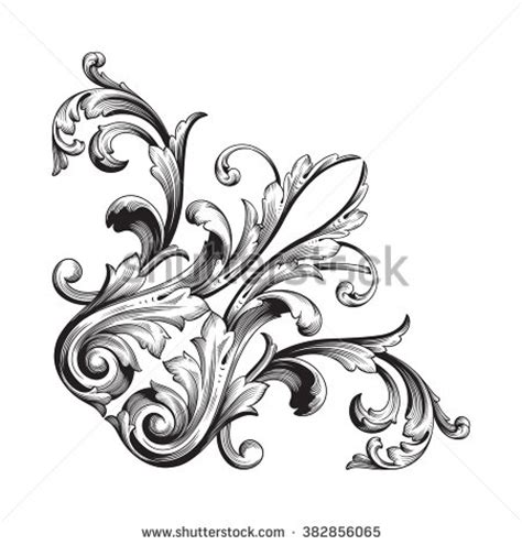 vintage baroque floral scroll foliage ornament stock