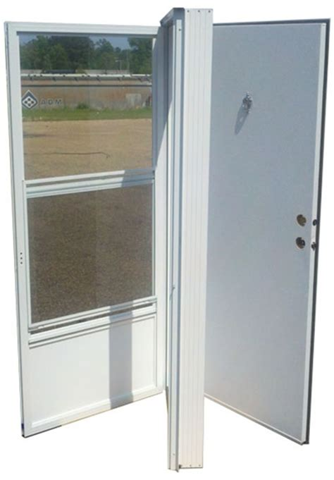 Mobile Home Combination Exterior Doors 38x80 Aluminum Solid Door With Peephole Rh For Mobile Home Manufactured Housing