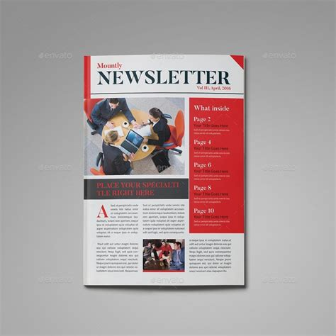 Modern Newsletter Template By Zorororonoa Graphicriver Contemporary Newsletter Template