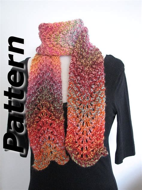 knitting pattern scarf variegated yarn bulky scarf knitting pattern pdf chunky ripple lace easy