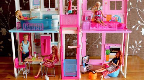 dolls house setting barbie dolls living room barbie kitchen dollhouse furniture set and barbie dreamhouse 芭比豪宅 youtube
