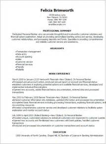 Banker Resume Sles by Professional Personal Banker Resume Templates To Showcase Your Talent Myperfectresume