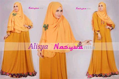 Khimar Assimetris Kuning Kunyit alisya by nasywanisa kuning baju muslim gamis modern