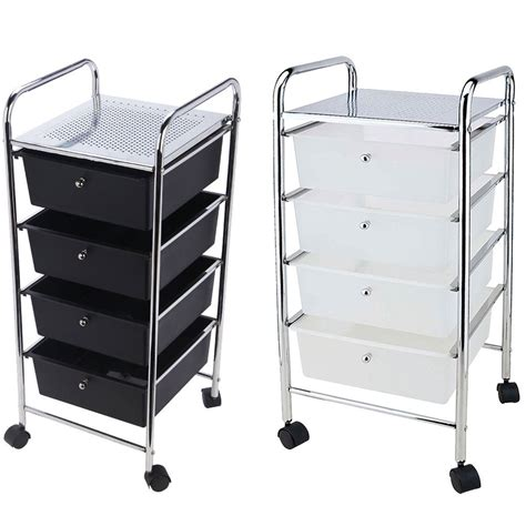 Storage Carts With Drawers And Wheels by 4 Drawer Trolley Mobile Office Salon Storage Cart Wheels