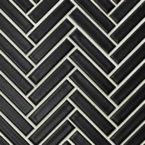 beltile matte black herringbone glazed porcelain mosaic 3 8 x 2 beltile tile and stone