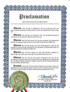 proclamation template san francisco recognizes save the bay s 50th anniversary