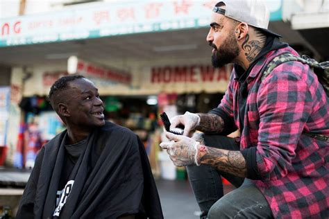 apprentice haircuts melbourne barber gives haircuts to transform lives the oregon optimist