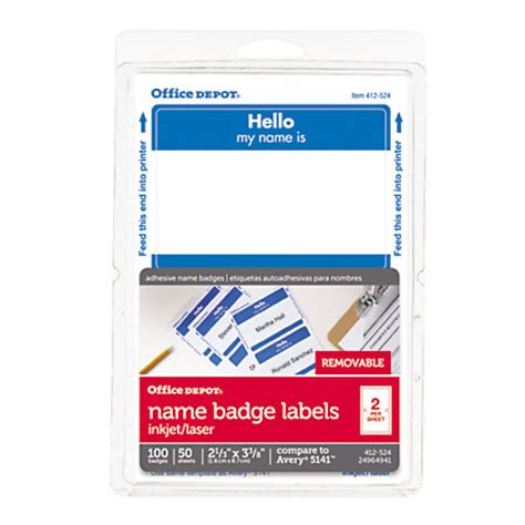 Office Depot Name Tags office depot brand hello name badge labels 2 1132 x 3 38 blue border pack of 100 by office depot