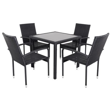Black modena rattan wicker dining table with 4 chairs garden set