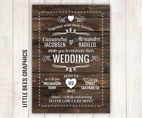 rustic wedding invitation wood printable wedding invitation wedding invitation with rsvp any