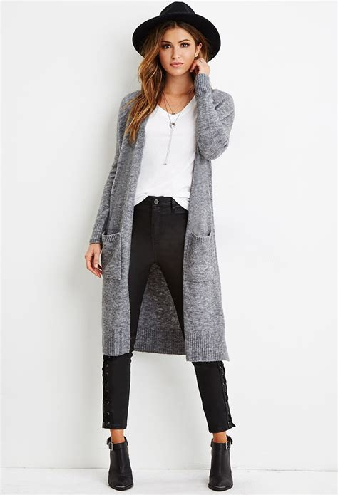 Cardigan Forever 21 Forever 21 Marled Knit Longline Cardigan In Gray Lyst