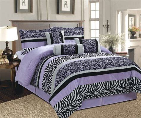 Purple Cheetah Comforter Set by 7 Pc Whisper Purple Black White Zebra Leopard Micro Fur