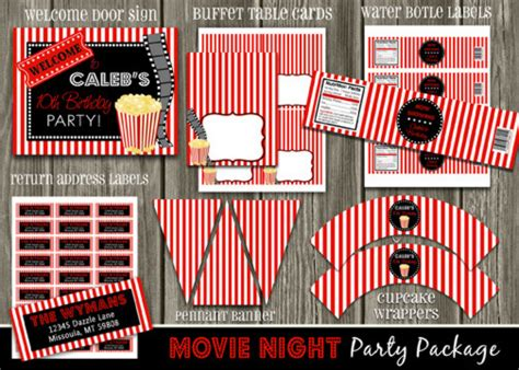 printable movie party decorations printable movie night birthday party package decorations