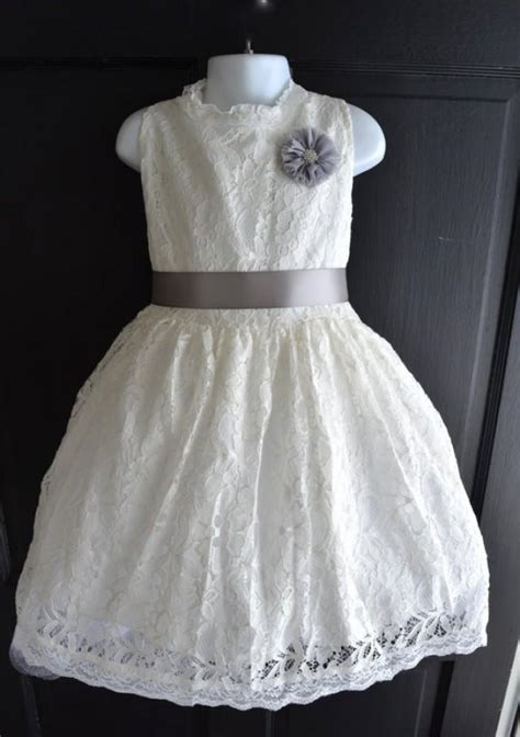 ivory lace flower girl dress lace dress wedding dress bridesmaid dress vintage style dress