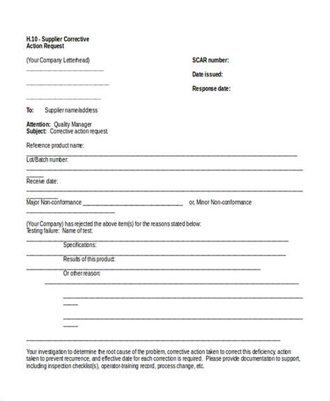 corrective form template 28 images of supplier corrective form template