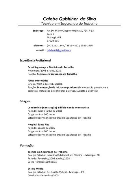 Modelo Curriculum Tecnologico calebe quishiner t 233 c seguran 231 a do trabalho