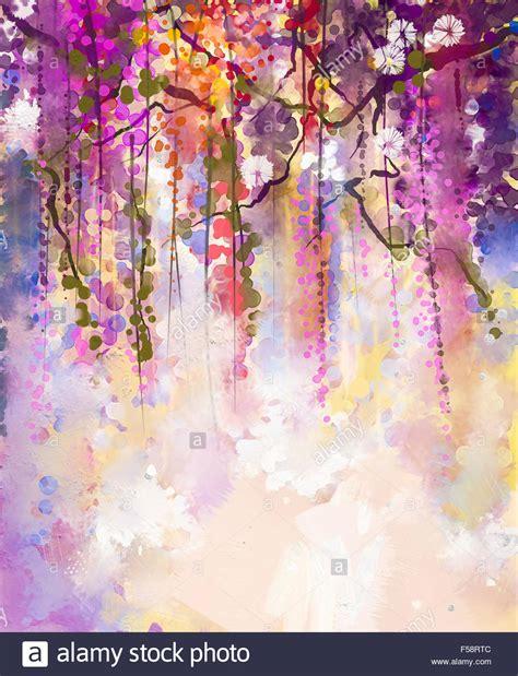 fiori astratti pittura fiori astratti pittura ad acquerello la molla fiori viola