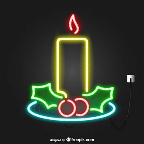 neon lights christmas candle vector free download