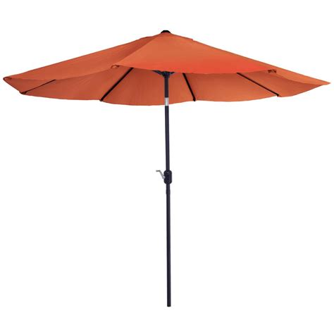 Aluminum Patio Umbrella Garden 10 Ft Aluminum Patio Umbrella With Auto Tilt In Terracotta M150065 The Home Depot