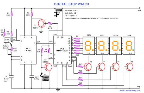 digital stop watch and digital timer circuit
