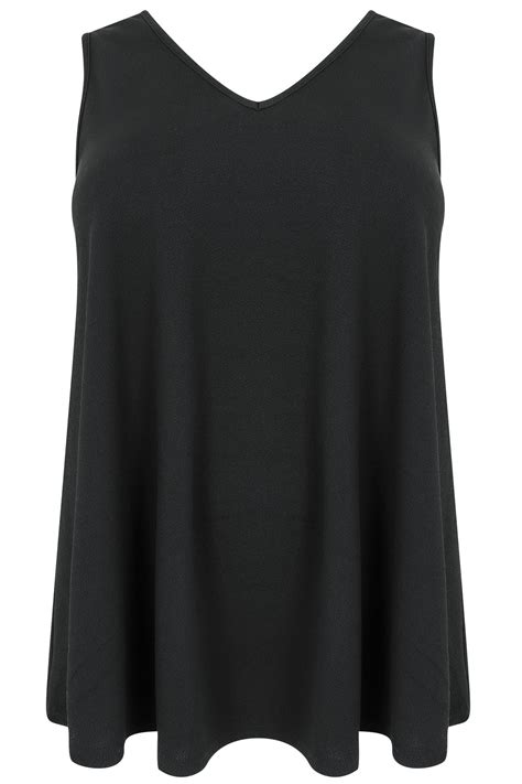 black swing black sleeveless swing top plus size 16 to 36