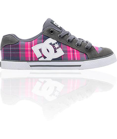 chelsea dc dc chelsea battleship grey pink purple plaid shoes