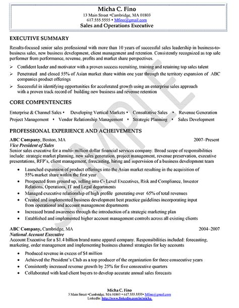Resume Exles For Sales Executive Sles