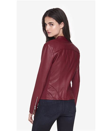the moto jacket lyst express seamed moto minus the leather jacket in red