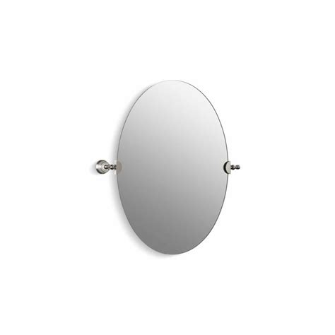 tilting bathroom mirror polished nickel shop kohler revival 28 5 in h x 26 125 in w oval tilting