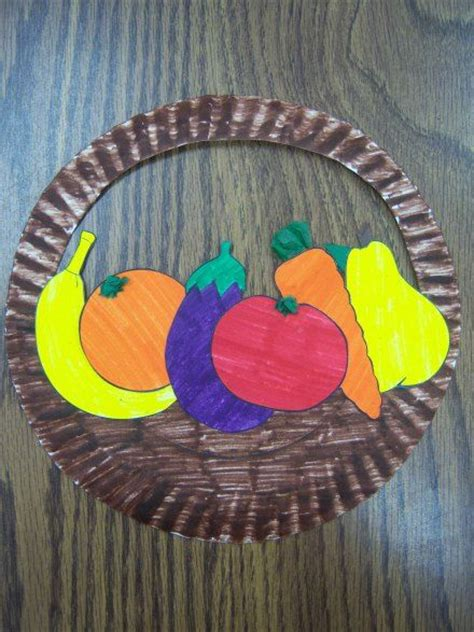 Paper Basket Craft Ideas - paper plate basket of fruit use vegetables instead