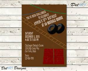 obstacle course birthday invitation invite by