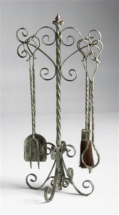rustic tuscan country scroll fireplace tool
