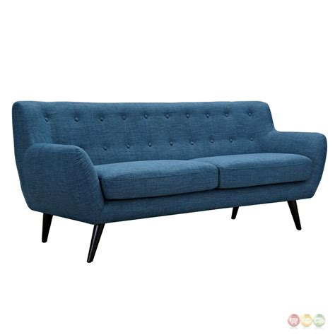 Ida Modern Blue Button Tufted Upholstered Sofa With Black Modern Blue Sofa