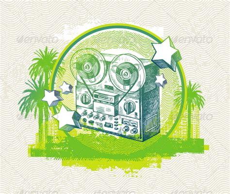 sound sketchbook zip grunge illustration with reel recorder sourcecodes pro