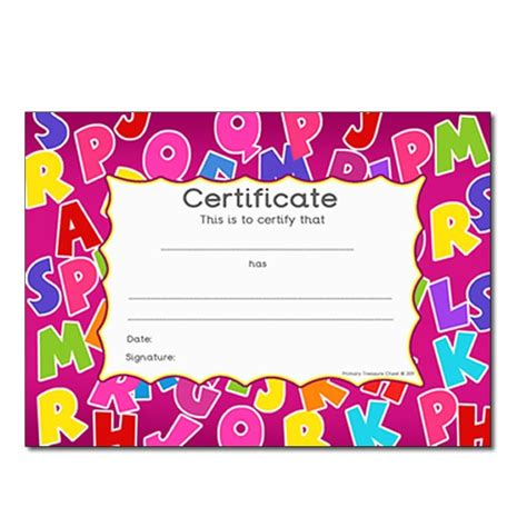 abc card template editable alphabet themed certificate primary treasure chest