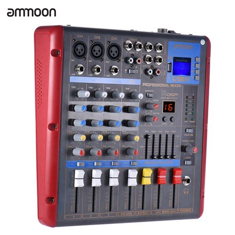 Mixer Equalizer Ammoon Bluetooth 4 Channel Mono Stereo Digital Mic Line Audio Mixer Mixing Console 2band Eq With