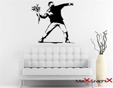 banksy street art molotov flowers  die cut vinyl wall