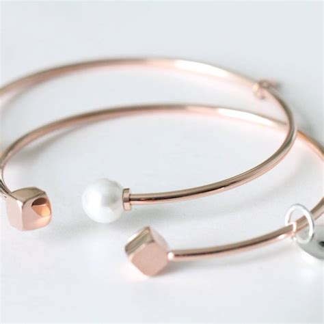 Open Bangle pearl or cube end open bangle by attic