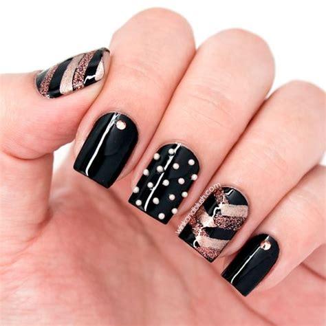 herringbone nail art tutorial herringbone nails tutorial rose gold black nail art with
