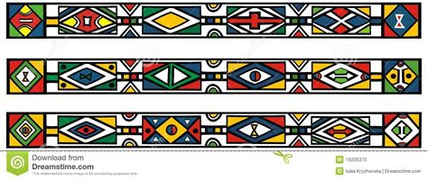 set of traditional african ndebele patterns stock vector