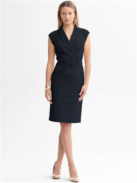 On Our Radar Banana Republic Supports The Earth by Banana Republic Sleek Suit Belted Dress In Blue True Navy