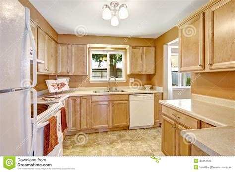 new white kitchen cabinets new kitchen cabinets with white appliances stock photo
