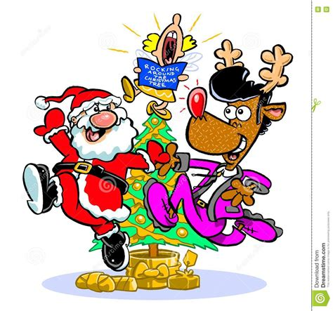 rocking around the christmas tree movies santa and rudolph stock illustration image 79111984