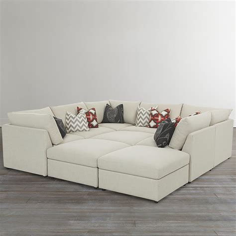 custom upholstered pit shaped sectional