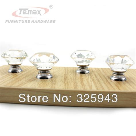 Bedroom Furniture Glass Handles 2pcs 40mm Clear Glass Kitchen Cabinets Dresser