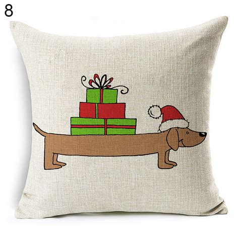 sofa bed cushion christmas dog linen cushion cover throw pillow case sofa