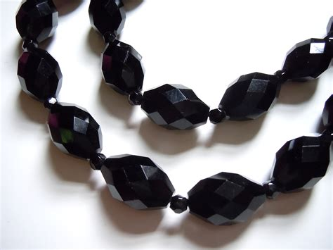 black bead 1920s jet black glass flapper necklaces