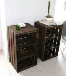 Wooden Crate Nightstand Wood Crate Handmade Table Furniture Nightstand Wood Crates Crates And Handmade Table