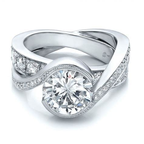 Custom Interlocking Diamond Engagement Ring   Wedding